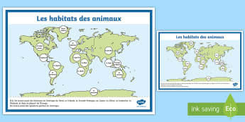 Affiche : La carte du monde des habitats des animaux - Animaux, animal, animals, cycle 1, cycle 2, science, le monde du vivant,poster, affiche, display, ha