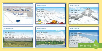 New Zealand Ski Fields Fact Cards  - New Zealand, Winter, Seasons, Snow, Skiing, Snowboarding, Mountains, Ski Fields, Snow Day, fact card - New Zealand, Winter, Seasons, Snow, Skiing, Snowboarding, Mountains, Ski Fields, Snow Day, fact card