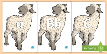 A-Z Alphabet on Lamb - A-Z, A4, display, Alphabet frieze, Display letters, Letter posters, A-Z letters, Alphabet flashcards