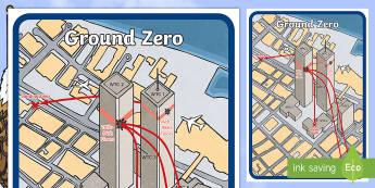 Ground Zero Map - Patriot Day, September 11th, World Trade Center, map, attacks, ground zero