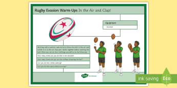 Rugby Warm-up: In the Air and Clap Card - rugby, warmup, warm-up, sport, PE