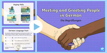 Meeting and Greeting People PowerPoint - German - Greetings, Getting to know you, German, MFL, Languages, Grammar, Umlauts