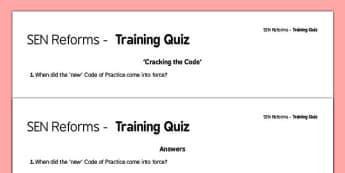 SEN Code of Practice Training Quiz -SEND, special educational needs, special needs, COP, staff CPD