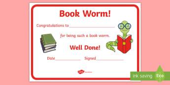 Reading Certificates Book Worm Certificate - reading award, reward, certificate, certificates, read