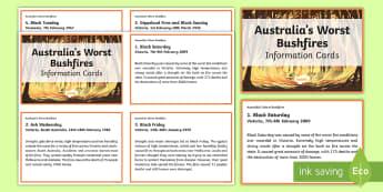 Australia's Worst Bushfires Information Cards - bushfires, fire, Australia, natural disasters, extreme weather, ACSSU096,  ACSSU075 ,Australia, Eart