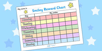 Smiley Face 7 Day Reward Chart - smiley face, reward chart, reward, chart, awards, award chart, behaviour management, class management, weekly chart, weeks