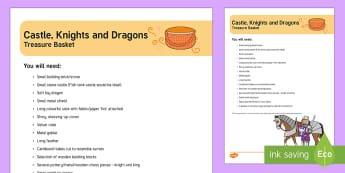 Castles, Knights and Dragons Treasure Basket Ideas - EYFS, baby play, heuristic play, exploration, sensory play