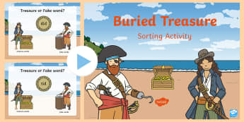 Pirate Buried Treasure Sorting Activity (Phase 2) - buried treasure phonics game, buried treasure sorting game, buried treasure powerpoint, words