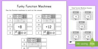 Funky Function Machines Activity Sheet - dj, subtraction, addition, activity sheets, turntables, Worksheet