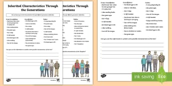 Inherited Characteristics Through the Generations Activity Sheets - worksheets, CfE Science, science week, Edinburgh Science Festival, Glasgow Science Festival, Scottis
