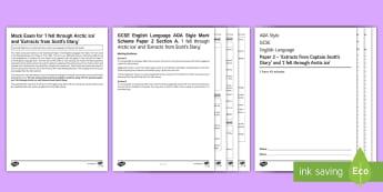 AQA P2 Reading Booklet Mini Exam Pack - AQA P2 Reading Booklet, Captain Scott, Arctic travels, Antarctic, adventure stories, inhumane places