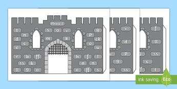 Phase 2 Phonics Grapheme 3D Castle Visual Aid - phoneme, knights, medieval, satpin, fort