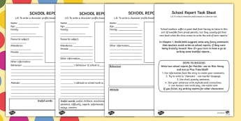 School Report Task Sheet and Differentiated Worksheets to Support Teaching on Matilda