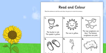Summer Read and Colour Worksheet - seasons, weather, reading