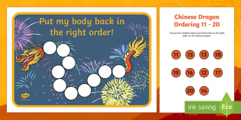 Chinese Dragon Ordering 11 to 20 Activity Sheet