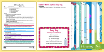 EYFS Sensory Bottle Explore Busy Bag Plan and Resource Pack - EYFS Water, water cycle, rain, rivers, sea, oceans, sensory bottles, sensory play, mess free play, t