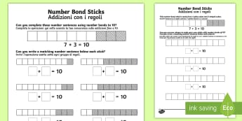 Number Bond Sticks to 10 Worksheet / Activity Sheet English/Italian - bonds, pair, total, 10, recognise, find, colour, pairs, addition, adding, add,+,adition,additio,addi