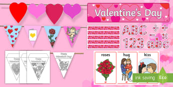 Valentines Day Decorations Display Pack - st valentines, love, february events,