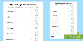 Emotions and Feelings (Middle East) Matching Worksheet / Activity Sheet - My Feelings, My Emotions, My Feelings Middle East, UAE All About Me, All About Me, worksheet