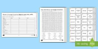 Travel and Tourism Revision Activity Sheets French - 15 Minute Revision, GCSE,vocabulary, worksheets, les voyages, le tourisme, wordsearch, differentiate