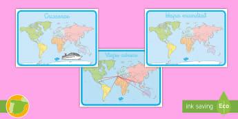 Posters: Mapas mundiales - Vacación, vacaciones, viaje, viajes, mundo, el mundo, turismo, turista, turístico, turística, rol