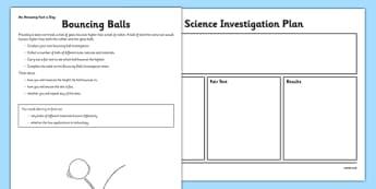 Bouncing Balls Activity Sheet - fair test, investigation, bouncing balls, worksheet