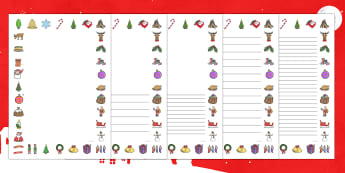 Christmas Page Border - Christmas, xmas, Happy Christmas, tree, advent, nativity, page border, border, writing template, writing aid, writing aid, santa, father christmas, Jesus, tree, stocking, present, activity, cracker, angel, snowman, advent