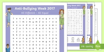Anti-Bullying Week 2017 Second Level Differentiated Word Search - Difference, Prejudice  Equality, Fair, Fairness, Bully, Friendship, Relationship,,Scottish