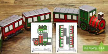 3D Christmas Train Paper Model Display US English/Spanish (Latin) - 3d, christmas train, paper model, paper craft, display, ESL, EAL