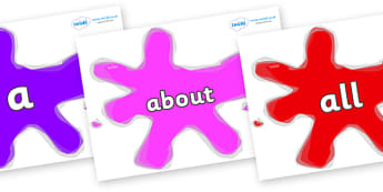 100 High Frequency Words on Splats - High frequency words, hfw, DfES Letters and Sounds, Letters and Sounds, display words