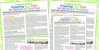 Preparing Your Child For Nursery Preschool Guide Parents Poster