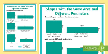 Shapes with the Same Area and Different Perimeters Display Poster - area, perimeter, year 6, area formulae, area formula, perimter formulae, area formula, area with mul