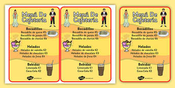 Spanish Cafe Role Play Menu - food, shops, menus, Spain, activity
