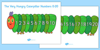 Numbers 0-20 to Support Teaching on The Very Hungry Caterpillar - the very hungry caterpillar, numbers, 0-20, maths, numeracy