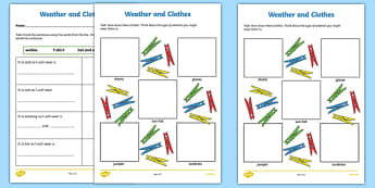 Weather and Clothes Cloze and Drawing Activity Sheet-Irish, worksheet