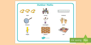 Outdoor Maths Learning Word Mat - CfE Outdoor Learning, nature, forest, woodland, playground, spelling, vocabulary.,Scottish
