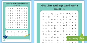 First Class Spellings Weeks 1-6 Word Search - Spellings, High, Frequency Words, Language,assessment, Irish