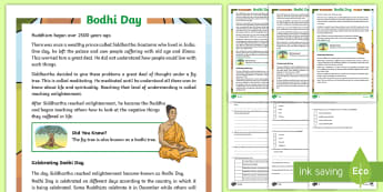 KS2 Bodhi Day Differentiated Reading Comprehension Activity - buddhist days of celebration, buddhist festivals, buddha and the bodhi tree, meditation and prayer,