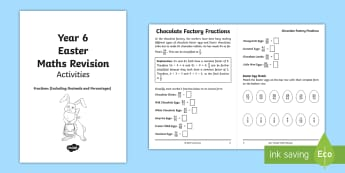 Year 6 Easter Maths Revision: Fractions (Including Decimals and Percentages) Activity Booklet - SATs Survival Maths, Mathematics, revision, boosters, support material ,Year 6, Fractions (percentag