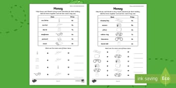 Where in the World Shall We Go? Money Activity Sheet -  ROI, Where in The World Shall We Go, Maths, Activity, Exploring My World, Money, worksheet, Irish