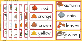 Autumn Word Cards - visual aids, seasons, weather, flash cards
