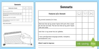 Writing a Sonnet Poem Self-Assessment Tracker - writing, key features, poem, sonnet, assessment, peer