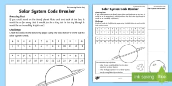 Solar System Code Breaker Activity Sheet - Amazing Fact Of The Day, activity sheets, powerpoint, starter, morning activity, May, addition, subt