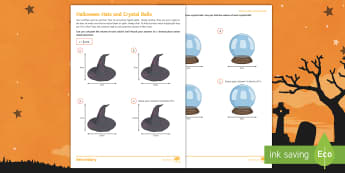 Halloween Hats and Crystal Balls Activity Sheet - Halloween, volume, sphere, cone, measure, witch, Capacity, liquid, Centimetres cubed, worksheet