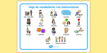 Hoja de vocabulario: Las instrucciones New EAL Starter Instructions Word Mat Spanish - spanish, literacy, words, mats