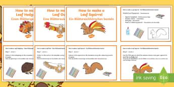Autumn Leaf Animal Craft Activity Pack English/German - Animals, fall, seasons, weather, leaves, EAL, German, English-German,,German-translation