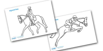 The Olympics Equestrian Colouring Sheets - Equestrian, Olympics, Olympic Games, sports, Olympic, London, 2012, colouring, fine motor skills, poster, worksheet, vines, A4, display, activity, Olympic torch, events, flag, countries, medal, Olympic Rings