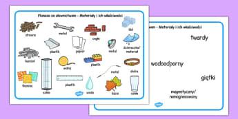 Plansze ze słownictwem Materiały i ich właściwości po polsku