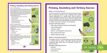 Primary, Secondary and Tertiary Sources A4 Display Poster - Australian Requests, Primary, Secondary and Tertiary Sources  A4 Display Poster -  primary, secondar