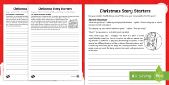 Christmas Story Starters CfE Second Level Writing Activity Sheet - Christmas, creating texts, writing, imaginative, literacy